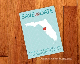 Save the Date For a Wedding in the Sunshine State Florida - Modern Chevron STD Postcard - Free Shipping - With photo on back - Aqua & Red