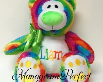 Jumbo Personalized Rainbow Bear Stuffed Animal