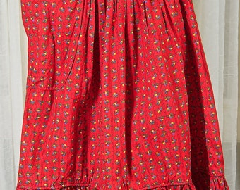 1970s Junior House red floral skirt, with ruffled hem and pocket. Prairie style, folky
