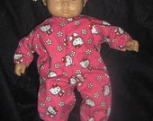 "Doll Clothes Made to Fit Bitty Baby and other 15"" Dolls Hot Pink Hello Kitty Sleeper and Headband"