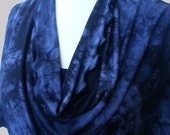 Black and Blue Bamboo Cowl Neck Poncho Scarf