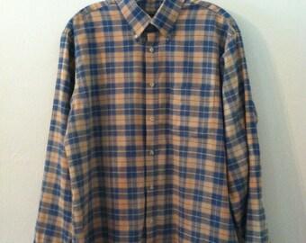 Plaid dress shirt etsy for Van heusen plaid shirts