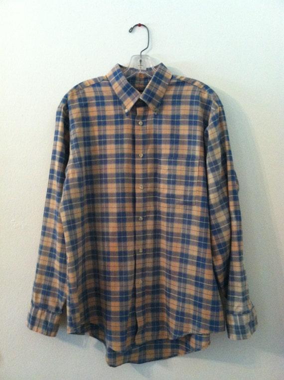 Vintage men 39 s plaid shirt van heusen men 39 s collar for Van heusen plaid shirts