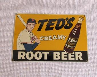 Ted's Root Beer Enamel Sign, Vintage look Ande Rooney Porcelain Enamel
