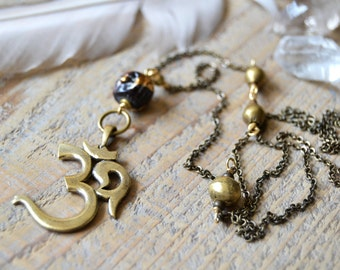 Brass OM yoga necklace with buddha - yoga jewelry - buddha jewelry - om necklace