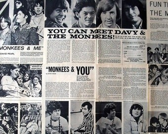 THE MONKEES ~ Daydream Believer, Davy Jones, Micky Dolenz, Mike Nesmith, Peter Tork ~ B&W Articles from 1966-1967 - Batch 1