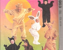 """Vintage 1997 McCall's 8953 Animal Costumes Bunny, Bear, Cat, Lion, Kangaroo Sewing Pattern Size 6,7,8 Breast, Chest 25"""", 26"""", 27"""""""