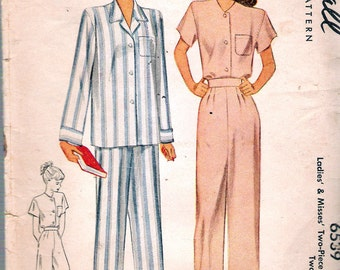 Vintage 1946 McCall 6539 Two-Piece Pajamas in Two Lengths Sewing Pattern Size 16 Bust 34""