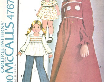 """Vintage 1975 McCall's 4767 Girl's Dress or Top & Pants Sewing Pattern Size 1 Breast 20"""" UNCUT"""