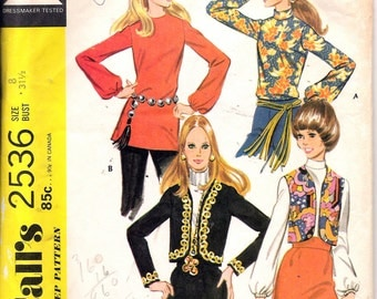 """Vintage 1970 McCall's 2536 Retro Blouse Vest & Jacket Sewing Pattern Size 8 Bust 31 1/2"""""""