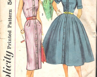 """Vintage 1957 Simplicity 1946 Shirtwaist Dress with Two Skirts Sewing Pattern Size 16 Bust 36"""""""
