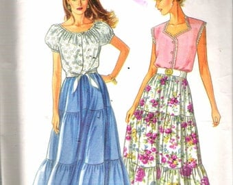 "Vintage 1993 Simplicity 8361 Tiered Skirt & Tops Multi Sized Sewing Pattern Size PT - XL Bust 30 1/2"" - 46"" UNCUT"