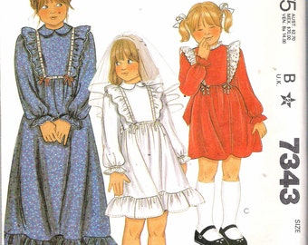"""Vintage 1980 McCall's 7343 Girl's Dress with Ruffles Sewing Pattern Size 7 Breast 26"""""""