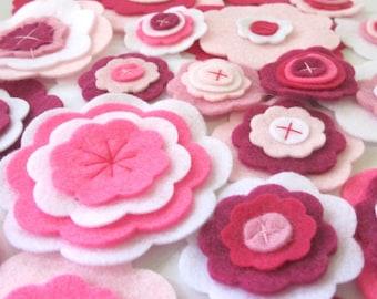 Felt Flowers, Bulk Flowers, Pink Flowers, Handmade Flowers, Fabric Flowers, Decoration Flowers