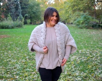 Crochet PATTERN women cable shrug bulky sweater cape oversized braided cardigan DIY tutorial, plus sizes , Instant download