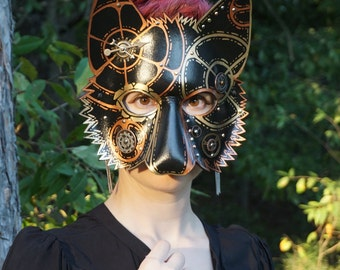 Black, Gold and Copper Steampunk Leather Wolf Mask, Leather Mask, Wolf, Theater Prop, Costume, Cosplay, Garb, Gear
