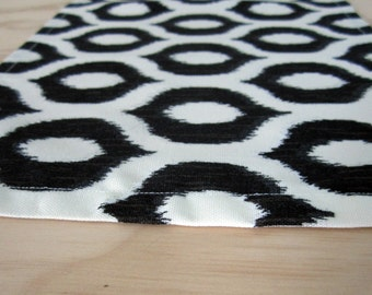 Ikat Table Runner, Black and White Runner 10x53, Perfect for Small Spaces, Black and White Table Linens