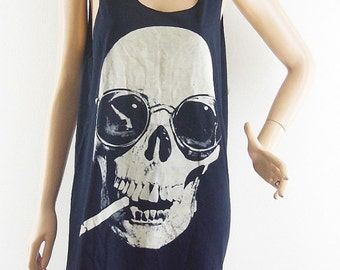 Skull Glasses Smoking shirt Skull Shirt Skull Tank Top Rock Tee Graphic Tank Top women Tank Men Tank Unisex tank top sleeveless size M