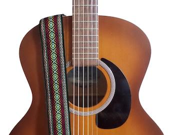 Hemp Guitar Strap - Bohemian Style Woven Ribbon on Organic Hemp Webbing - Vintage Style Strap - Acoustic, Electric and Bass Guitars