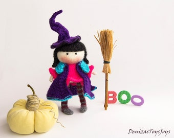 Small Witch Doll - pdf knitting pattern. Knitted in the round. Wire construction in the legs.