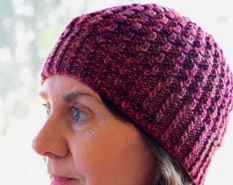 Textured Beanie Unisex Knit Hat Pattern - ARALUEN HAT Knitting Pattern PDF - Instant Download
