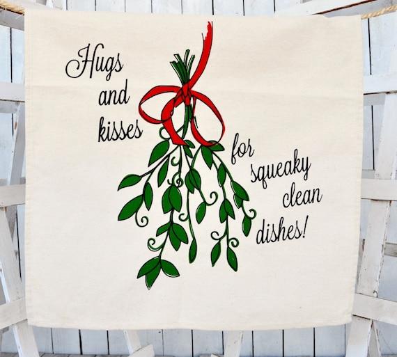 weihnachten geschirrtuch mistel mehl sack geschirrtuch. Black Bedroom Furniture Sets. Home Design Ideas