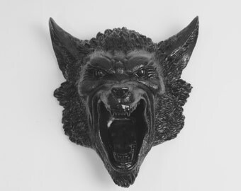 The Draugluin - Black Resin Werewolf Decor - White Faux Taxidermy - Lycanthrope Fantasy Decorations - Halloween Party Decorations
