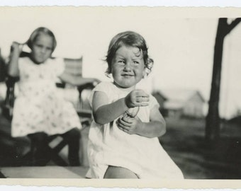 Two Small Girls at Sunset, c1940s Vintage Snapshot Photo 510414