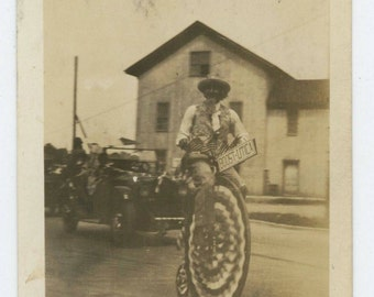 Uncle Sam on Decorated Penny Farthing Cycle, Boost-Utica Parade, 1910s-20s Vintage Photo Snapshot [64452]