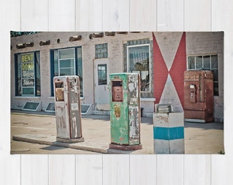 Throw Rug Area Rug Midway Station Rt. 66 Adrian Texas Retro Gas Pumps