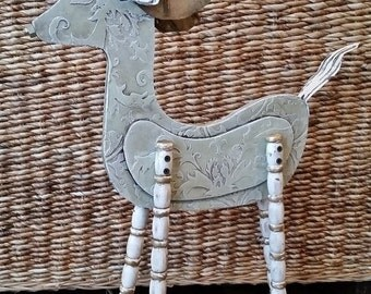 Christmas in July Reindeer Christmas Sculpture with Striped Spindle Legs Christmas, Winter Decor, Recycled,  One of a Kind. Vintage Deer