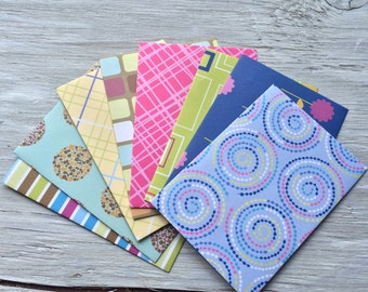 Handmade Note Card Set - Patterned Envelopes-  set of 8