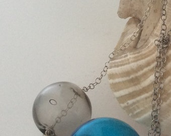 Murano blown glass blue and smoky-grey bubbles sterling silver necklace AFRODITE#3