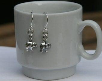Tiny Sterling Silver Elephant Dangle Earrings