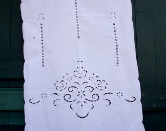 White cutwork curtain with a traditional design - Greek design - Mediterranean - Cottage chic -0000887 -870-849