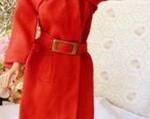 Barbie #3409 Red for Rain (1971-1972) COMPLETE OUTFIT Coat Belt Hat Boots