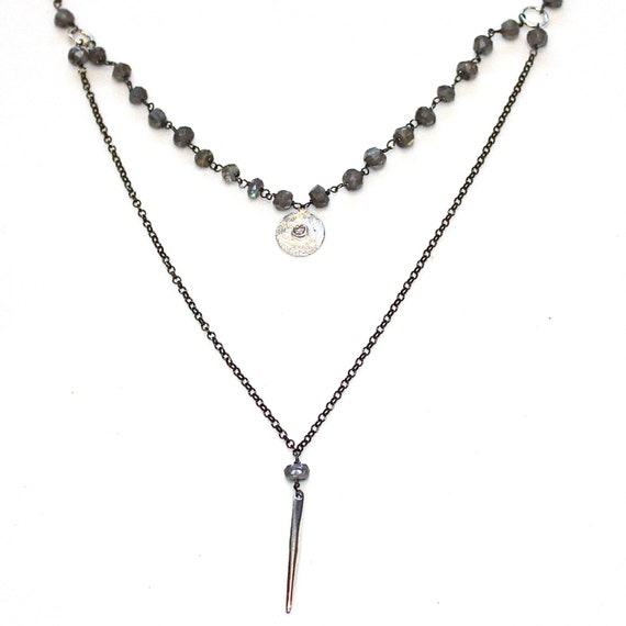 Oxidized Silver Version As Seen On The Vampire Diaries - Labradorite Stacking Necklace
