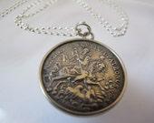 Georgius Equitum Patronus Coin Medallion Necklace/ Patron Saint of Knights aka Troops Military/ St George Dragon/ Talisman Fishermen Seamen