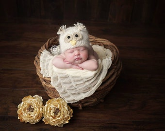 Newborn Mohair White Owl Hat Photography Prop, MADE TO ORDER