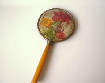 Vintage Hand Mirror Butterscotch Celluloid handle Floral Motif