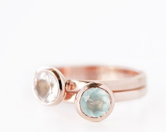 Rose Gold Ring With Round Rose Quartz or Aqua Chalcedony , Precious Gemstone, Bestseller Ring, Engagement, Bridesmaid, Friendship, Pink Gold