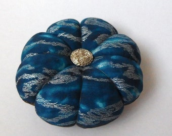 Pincushion TEAL - GREY Fabric with Gold Silver accents. Great for a sewing gift - Round Pin cushion Double Sided quilting fabric.