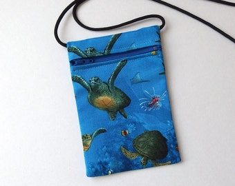 Pouch Zip Bag SEA TURTLE Fabric Great for walkers markets travel.  Cell Phone Pouch. Many uses. Small blue fabric Purse. coin pouch