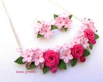 Pink Jewelry Set Flower Jewelry Roses Flower Necklace Flower Earrings Romantic Jewelry Polymer Jewelry Flowers Gift For Her Wedding Jewelry