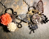 Vintage Steampunk Filigree Butterfly Insect Jewellery Necklace Pendant