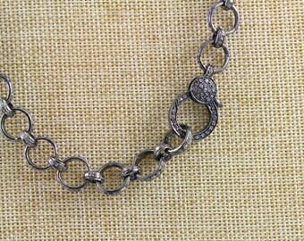 Pave Diamond Chain, Diamond Link Chain, Pave Link Necklace, Pave Chain, Diamond Chain w/ Diamond Clasp. Custom Length (PAV/CHN/05)