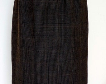 Vintage Dark Brown Pencil Skirt, Check Material, Lined, French, small