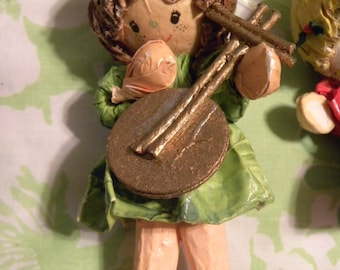 Vintage Paper Mache Angel Band Ornament