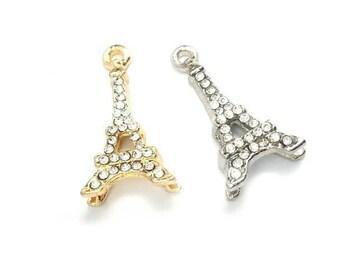 Rhinestone Eiffel Tower Charm in Silver or Gold - Paris Pendant