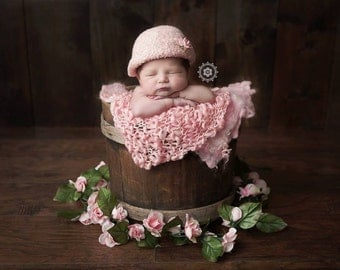 Felted baby Hat ~Vintage Cloche'    Hand Knit and Felted Cloche'   Newborn Baby Photo Prop